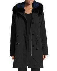 Trilogy Hooded Fur Trim Coat W Removable Fur Lining Black Blue Black Blue