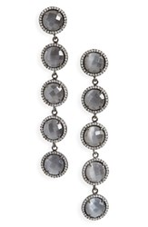 Susan Hanover Women's Five Stone Drop Earrings Grey Black Silver