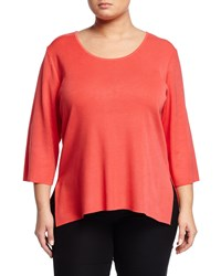 Ming Wang Plus 3 4 Sleeve Round Neck Knit Top Apricot