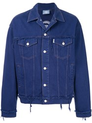 Andrea Crews Distressed Buttoned Jacket Blue
