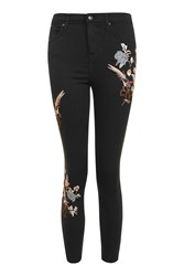 Topshop Petite Embroidered Jamie Jeans Black