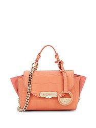 Versace Chain Detailed Leather Tote Coral