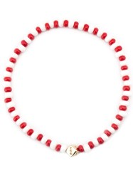 Luis Morais Dice Motif Beaded Bracelet Red