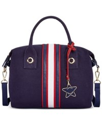 Tommy Hilfiger Web Stripe Cv Satchel Navy Red