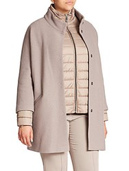Basler Plus Size Boiled Wool Car Coat And Puffer Jacket Set Slate