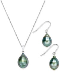 Macy's Tahitian Pearl 8Mm Pendant Necklace And Matching Drop Earrings Set In Sterling Silver