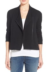 Petite Women's Eileen Fisher Tencel Jersey High Collar Jacket Black
