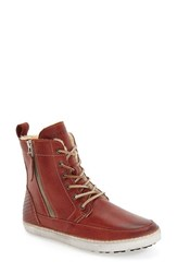Blackstone Women's 'Cw96' Genuine Shearling Lined Sneaker Boot Rust Leather