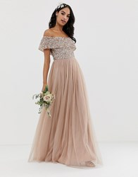 Maya Bridesmaid Bardot Maxi Tulle Dress With Tonal Delicate Sequins In Taupe Blush Brown