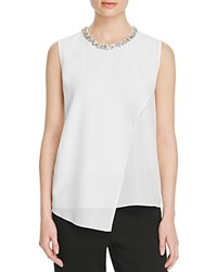 Magaschoni Embellished Silk Blouse Blanc