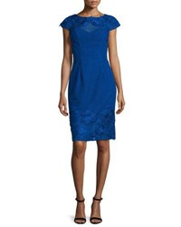 Monique Lhuillier Lace Open Back Embroidered Cocktail Dress Royal