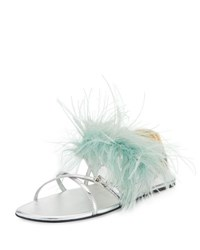 Prada Feather Embellished Crisscross Flat Sandal Green Silver Green Silver