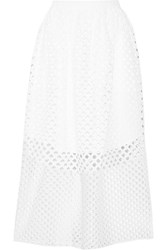 Carven Broderie Anglaise Cotton Midi Skirt White