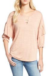 Wit And Wisdom Ruffle Top Cafe Creme
