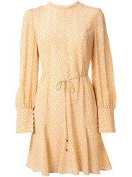 Rebecca Vallance Rosette Long Sleeved Mini Dress Yellow