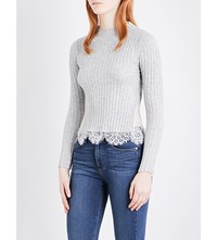 French Connection Nicola Ribbed Jumper Lightgrey Sumwhite