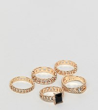 Aldo Umilawia Chain Stacking Rings In Black And Gold Jet Black On Gold