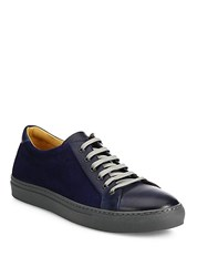 Saks Fifth Avenue Collection Mix Media Leather Low Top Sneakers Navy