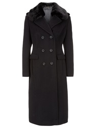 Planet Faux Fur Collar Coat Black