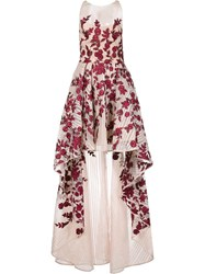 Marchesa Notte Floral High Low Gown White