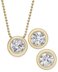 Eliot Danori 2 Pc. Set Crystal Stud Earrings And Pendant Necklace Gold
