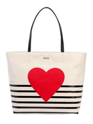 Kate Spade Heart Stripe Hallie Canvas Tote Bag Multicolor