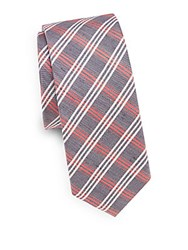 Saks Fifth Avenue Plaid Silk And Linen Tie Blue Red