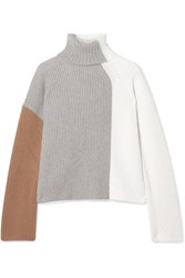 Loro Piana Color Block Ribbed Cashmere Turtleneck Sweater Ivory
