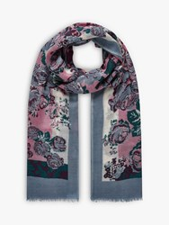 Brora Wool Floral Print Stole Scarf Storm Wild Rose