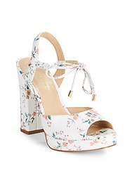 Saks Fifth Avenue Peep Toe Leather Sandals White Multi