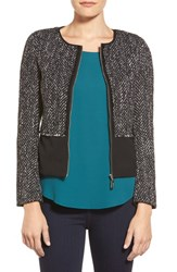 Women's Ivanka Trump Fringe Detail Tweed Panel Jacket