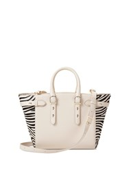 Aspinal Of London Midi Marylebone Tech Tote In Ivory And Zebra Haircalf White