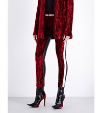 Haider Ackermann Tuxedo Skinny Velvet And Leather Trousers Red Green Black