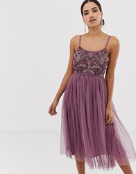 Maya Embellished Midi Cami Dress Purple