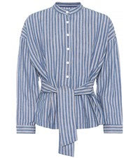 Citizens Of Humanity Steffy Striped Cotton Blouse Blue
