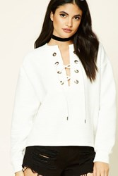 Forever 21 Ribbed Lace Up Pullover Ivory
