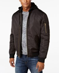 Sean John Men's Black Nylon Hooded Bomber Jacket