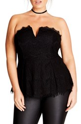 City Chic Plus Size Women's Deep V Strapless Lace Corset Top Black