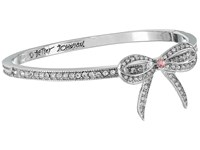 Betsey Johnson Ballerina Rose Bow Hinge Bangle Crystal Bracelet Gray