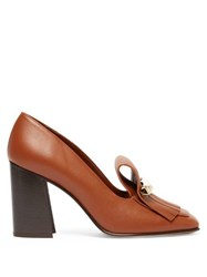 Valentino Uptown Fringed Leather Loafer Pumps Dark Tan