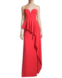 Milly Asymmetric Peplum Strapless Sweetheart Gown Tomato