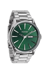 Topshop Nixon Sentry S Stainless Steel Green Sunray Dial Watch