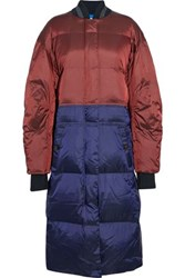 By Malene Birger Quilted Two Tone Shell Down Coat Brick