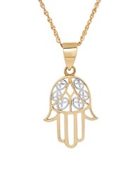 Lord And Taylor 14K Gold Filigree Hamsa Hand Pendant Necklace Yellow Gold