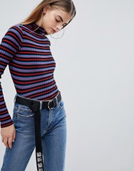 Bershka Striped Funnel Neck Jumper In Multi Red