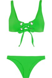 Mara Hoffman Lace Up Bikini Lime Green
