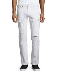 True Religion Geno Ripped And Worn Denim Jeans White Rapids