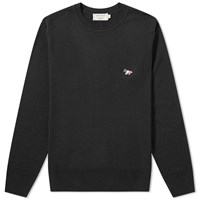 Maison Kitsune Virgin Wool Crew Knit Black