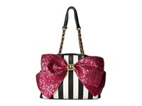 Betsey Johnson Bow Lesque Satchel Stripe Fuchsia Satchel Handbags Pink