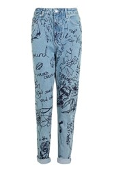 Topshop Moto Graffiti Print Mom Jeans Bleach